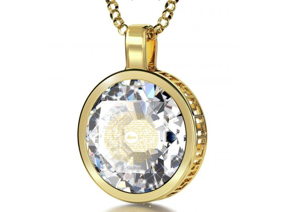 14K Yellow Gold with Cubic Zirconia Crystal Clear