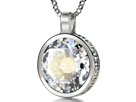 14K white Gold with Cubic Zirconia Crystal Clear