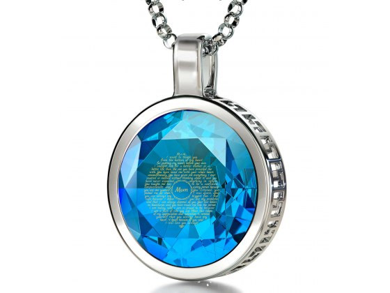 14K White Gold with Cubic Zirconia Turquoise Blue Topaz