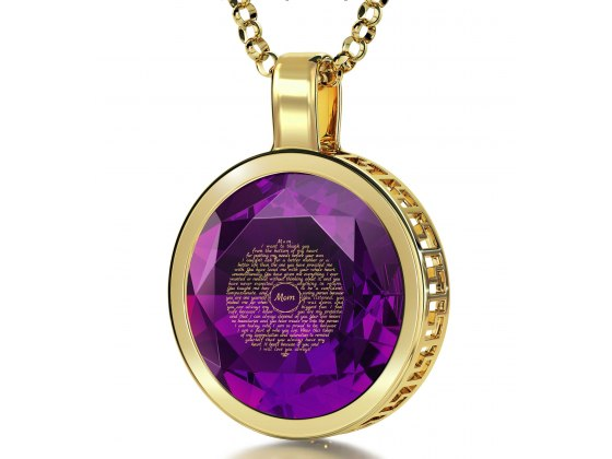 14K Yellow Gold with Cubic Zirconia Violet Light Amethyst