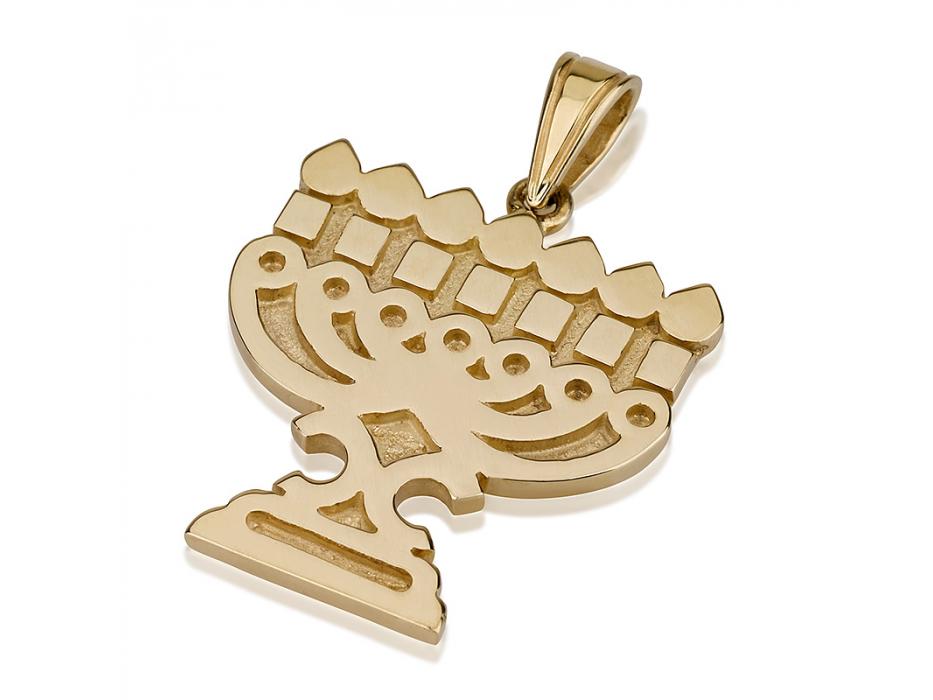 14K Gold Scrolls Design, Menorah Necklace