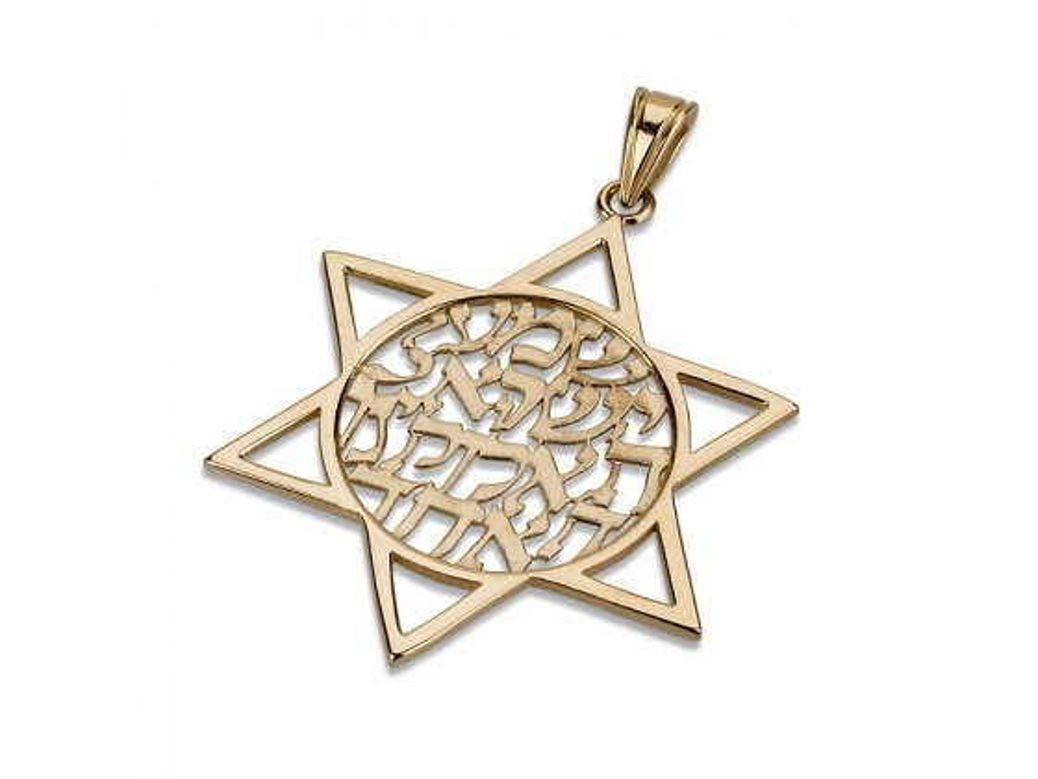 14K Gold Shema Yisrael, Star of David Necklace