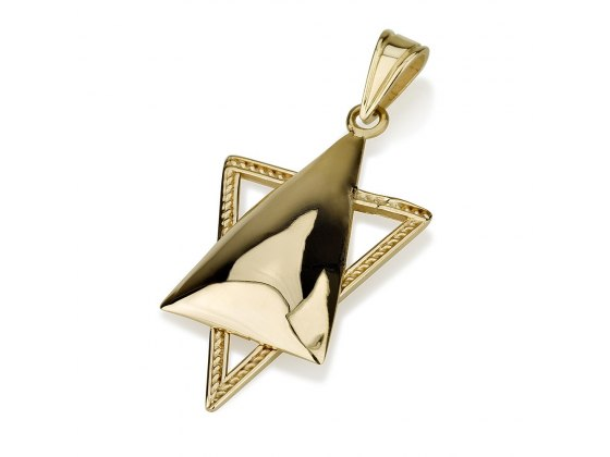 14K Gold Star of David Necklace with Filled Front Triangle