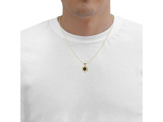 14k yellow Gold Star of David with Shema Yisrael Onyx
