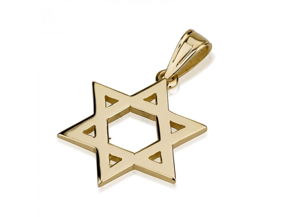 14K Golden Star of Simplicity, Star of David Necklace