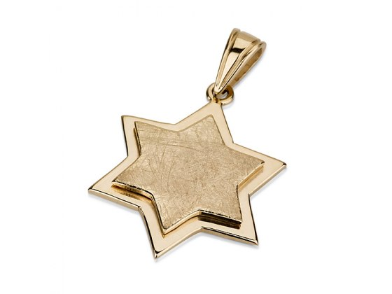 14K Gold Star within a Star, Star of David Necklace