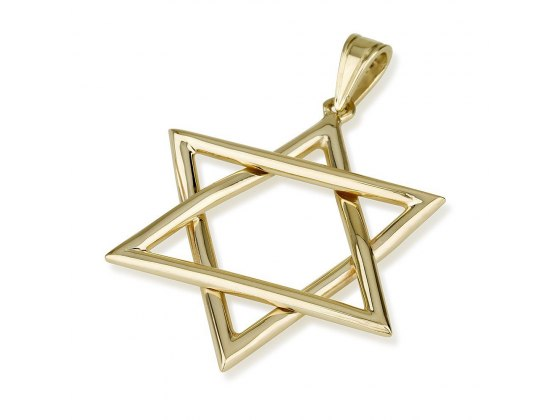 14k Gold Thin Lines Star of David Necklace