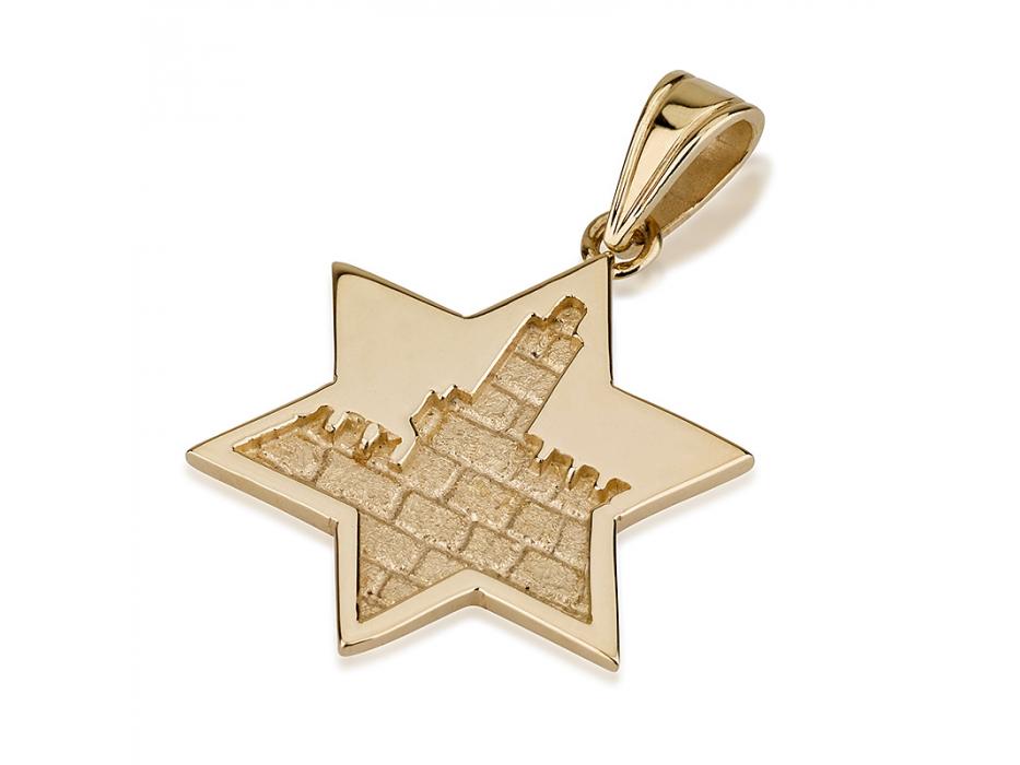 14K Gold Tower of David in Jerusalem, Star of David Pendant