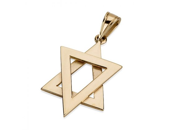 14K Gold Triangles Design, Star of David Necklace