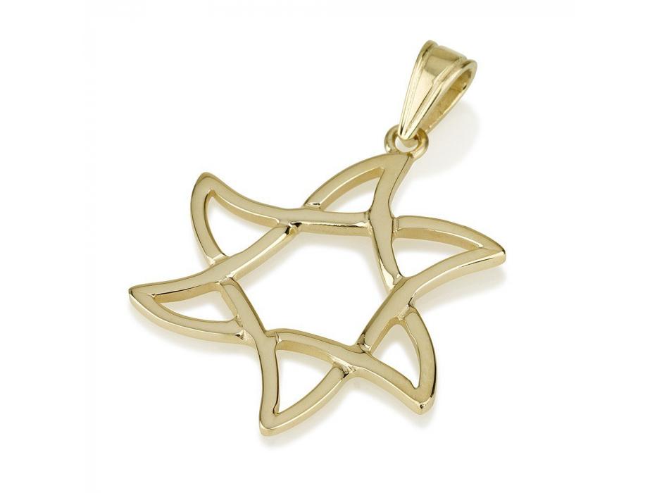 14k Gold Wavy Star of David Necklace