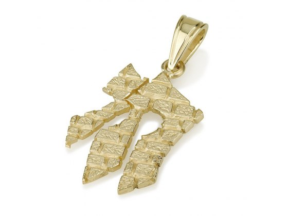 14k Gold Western Wall Elongated Chai Necklace