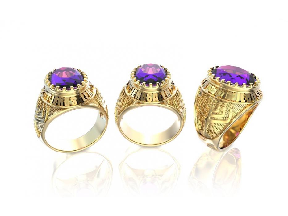 14K Gold Jerusalem Menorah Ring