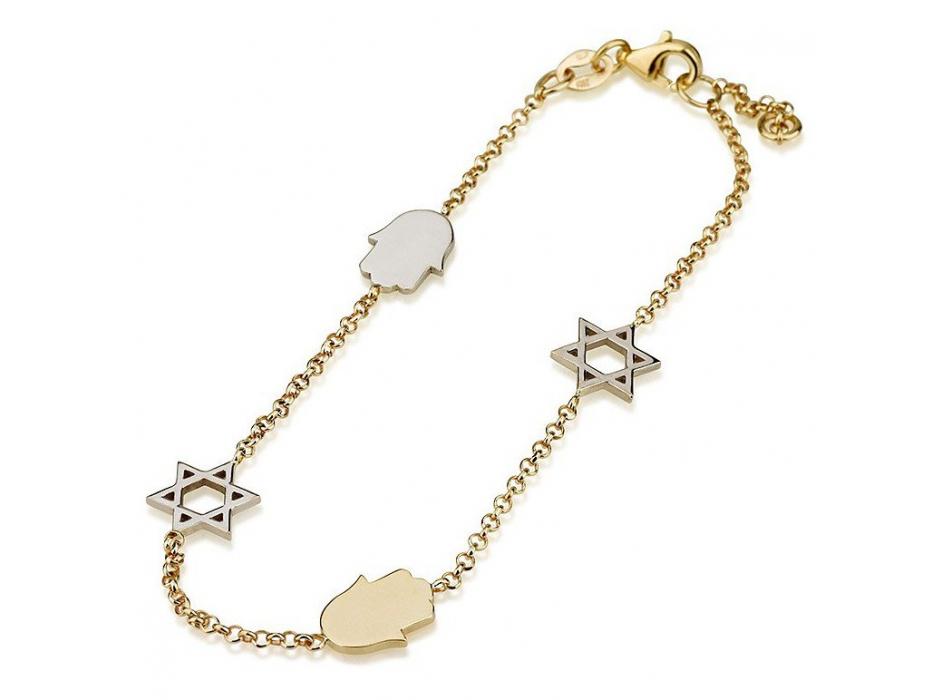 14K White and Yellow Gold Charm Bracelet Hamsas and Stars of David