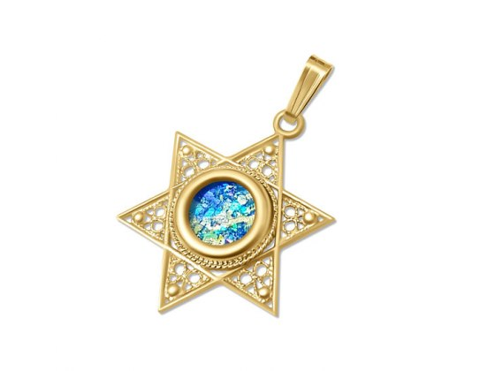 14k Yellow Gold Filigree Star of David and Roman Glass Pendant