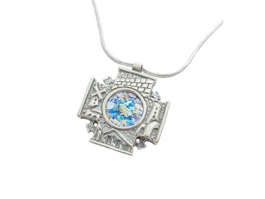 Silver and Roman Glass Jerusalem 3D Cross