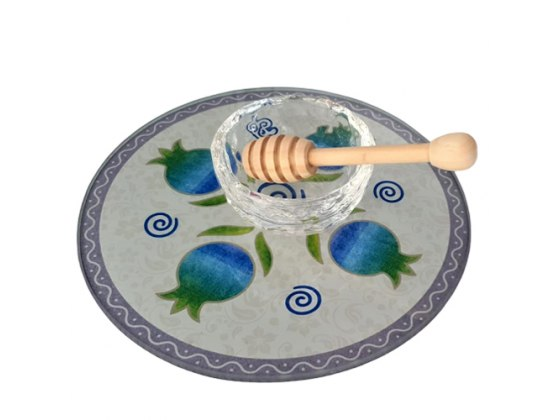 Lily Art Glass Honey Bowl On Circle Tray With Blue And Green Pomegranates