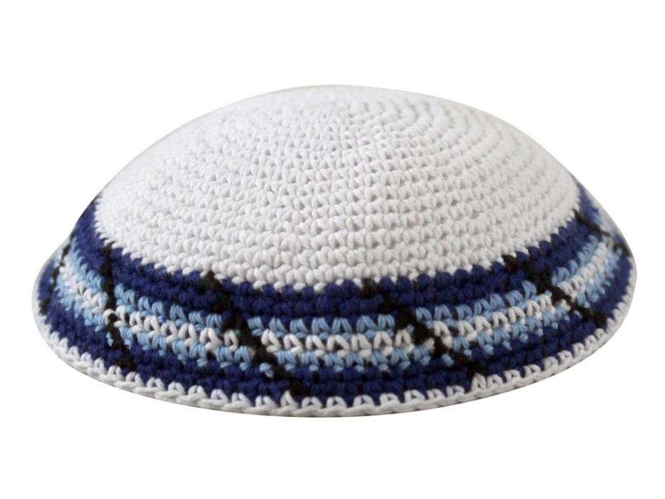 Blue and Light Blue Stripes Knit Kippah