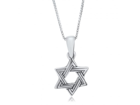 Star of David Necklace Sterling Silver Interwoven Stripes Design