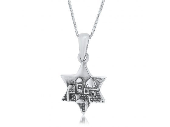 Silver Star of David Necklace Jerusalem Skyline Design