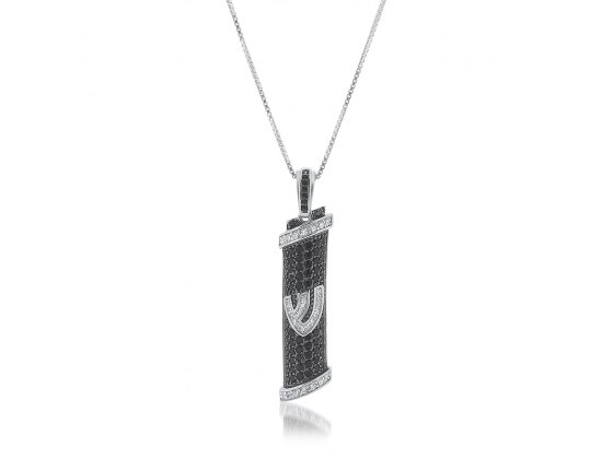 Silver Mezuzah Necklace with Black Zirconia Plating