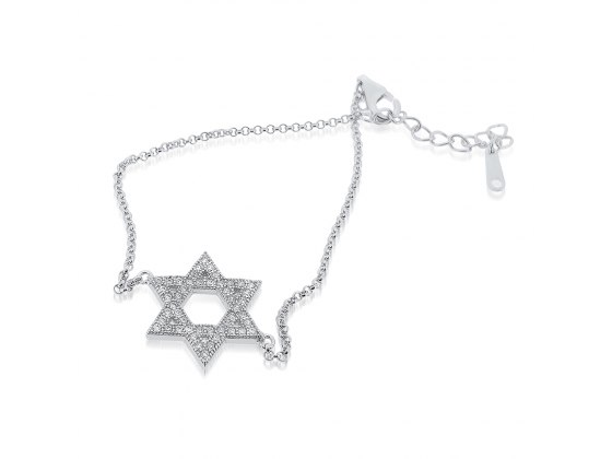 Silver Star of David Bracelet with Zirconia