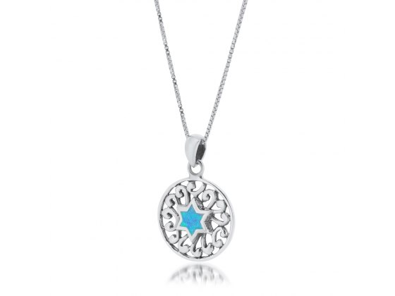 Blue Opal Star of David with Round Filigree Silver