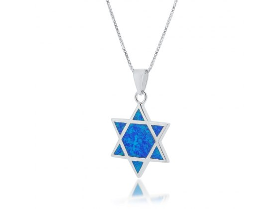 Opal Star of David Pendant with Silver Frame