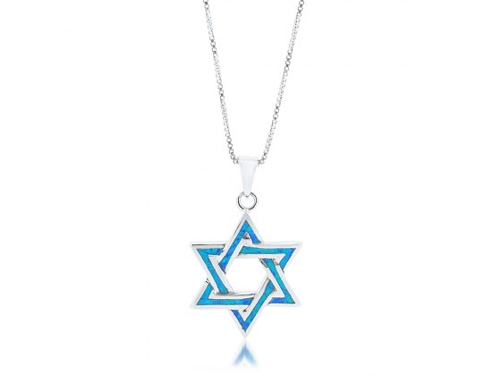Silver Star of David Necklace with Blue Opal Lining