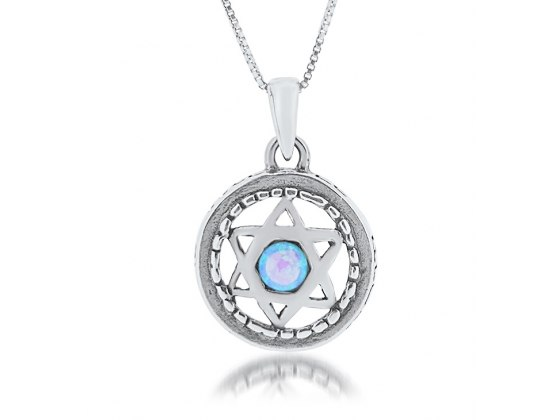 Star of David Pendant  with Round Silver Frame and Opal Stone