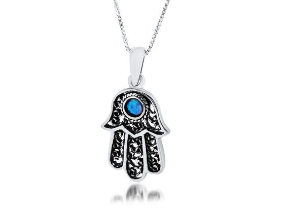 Filigree Hamsa Necklace with Center Opal Stone