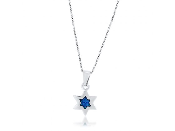 Silver Star of David Necklace with Center Opal Star
