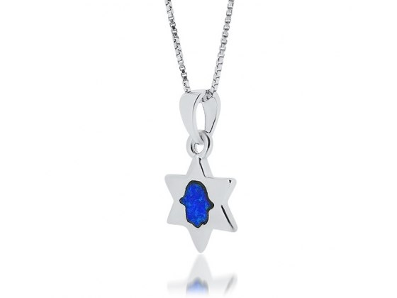Silver Star of David Necklace with Opal Hamsa
