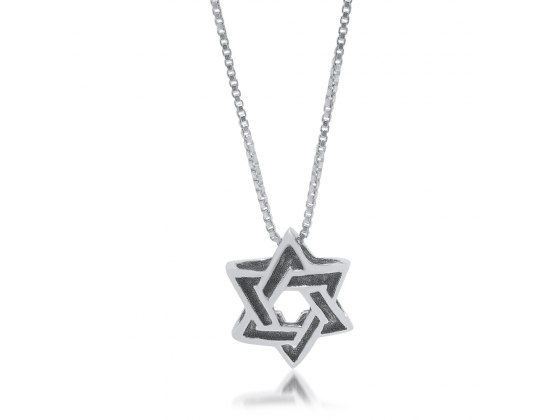 Silver 3D Star of David blackened in engraved