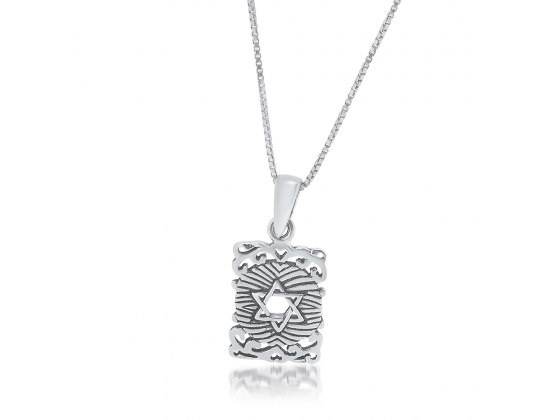 Decorated Silver Rectangle with Center Star of David Necklace