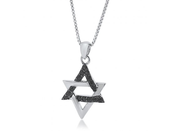 Star of David Necklace Silver and Black Zirconia
