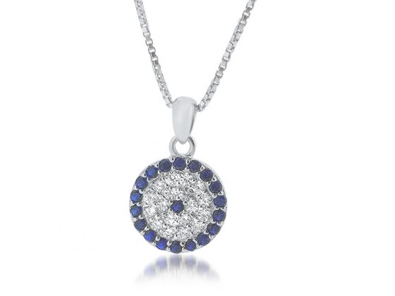 Evil Eye Necklace with Blue and White Zirconia