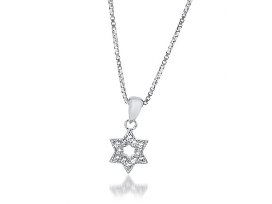 Small Star of David Necklace Sterling Silver and Zirconia