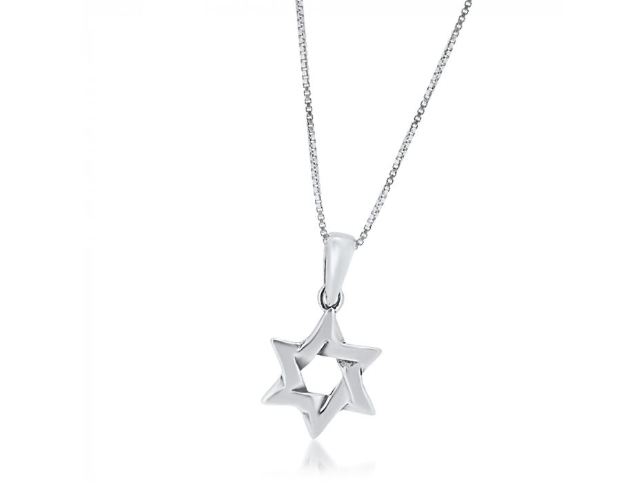 Silver Star of David Necklace Interlock Design