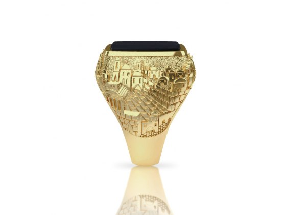 14K Gold and Onyx Jerusalem Jewish Ring