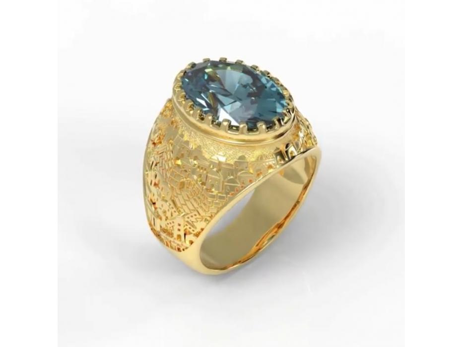 14K Gold Jerusalem Ring with Topaz Stone