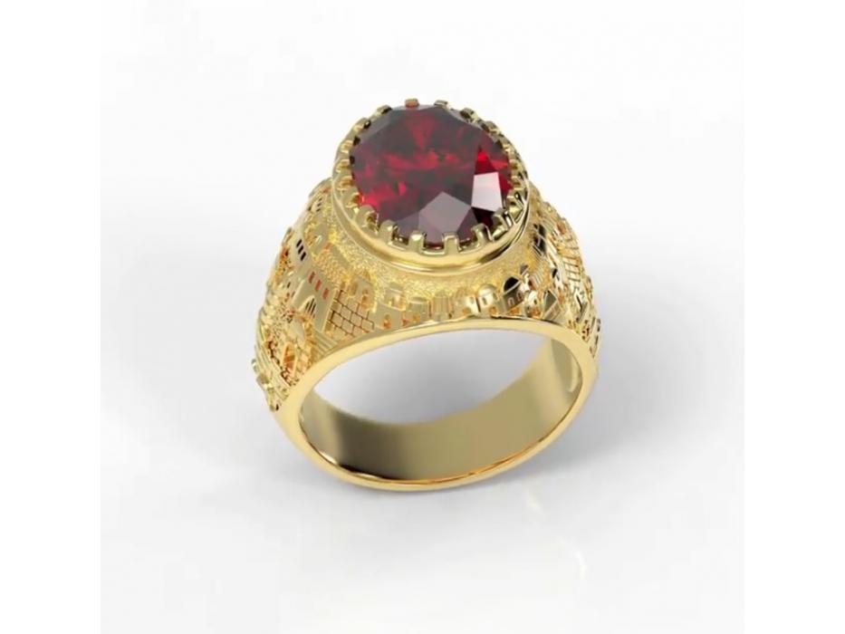 14K Gold Jerusalem Ring with Garnet Stone