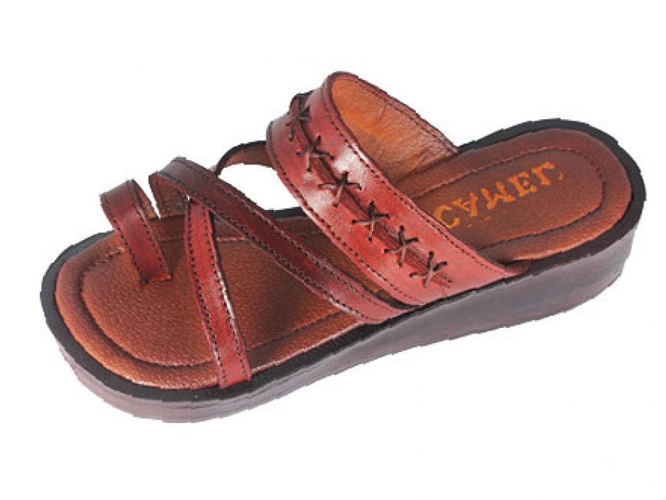 Leather Platform Biblical Sandal with Black Leather Cross Stitch