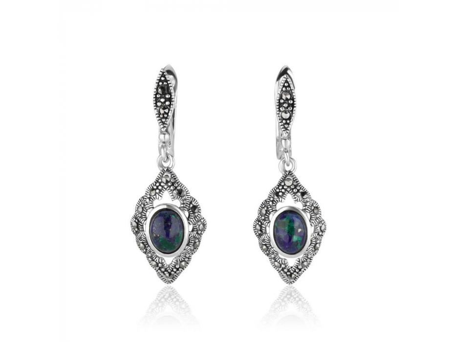 Marina Jewelry Eilat Stone Sterling Silver Marcasite Rhombus Shaped Dangle Earrings