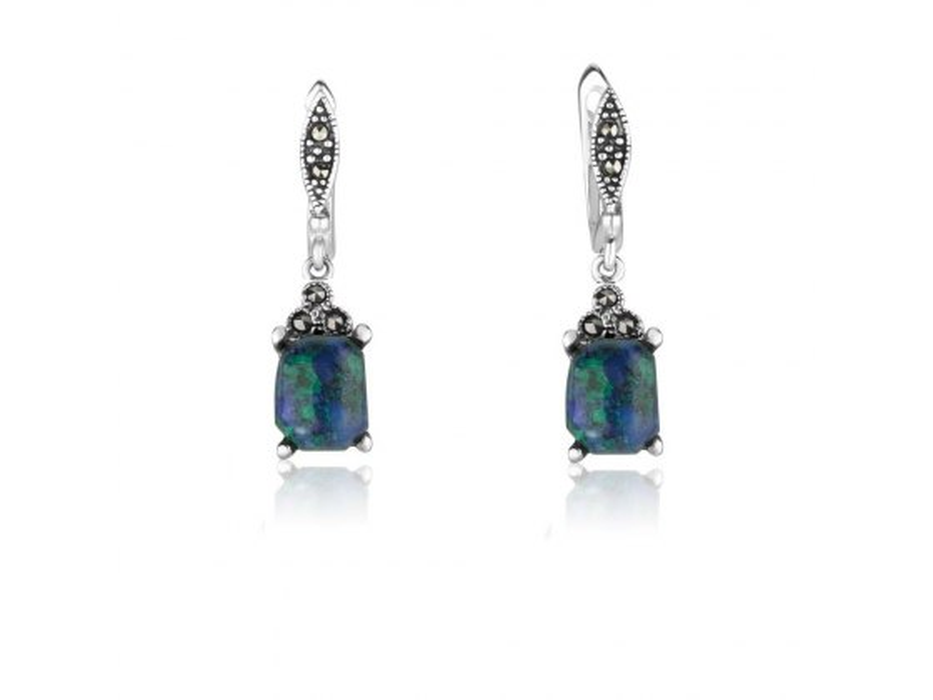 Marina Jewelry Rectangle Eilat Stone Sterling Silver Marcasite Dangle Earrings