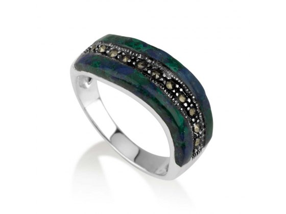 Marina Jewelry Eilat Stone Topped Ring With Sterling Silver Marcasite Stripe