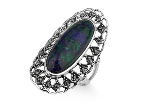 Marina Jewelry Oval Eilat Stone Ring With Sterling Silver Marcasite Patterned Frame