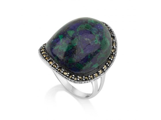 Marina Jewelry Rounded Eilat Stone Ring With Sterling Silver Marcasite Beaded Frame