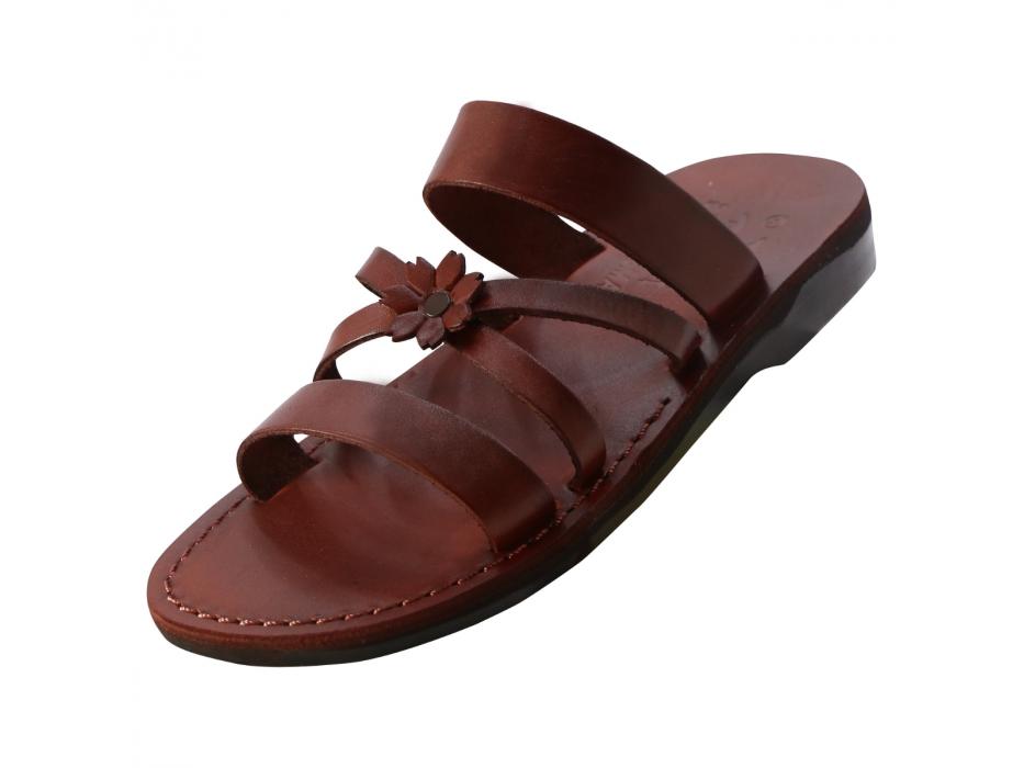 Clone of Orange Flower Toe Strap Israeli Handmade Leather Sandals