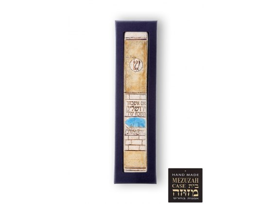 Ceramic and Gold Mezuzah with If I Forget Thee, O Jerusalem by Art in Clay