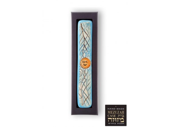 Ceramic and Gold Mezuzah with Palm Tree Pattern by Art in Clay